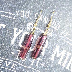 Purple & Gold Tube Earrings